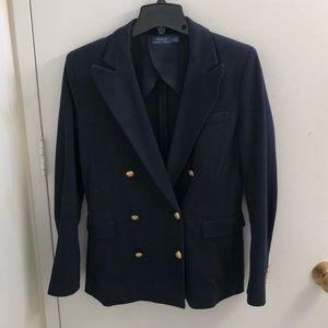 Polo Ralph Lauren Navy Knit Double Breasted Blazer